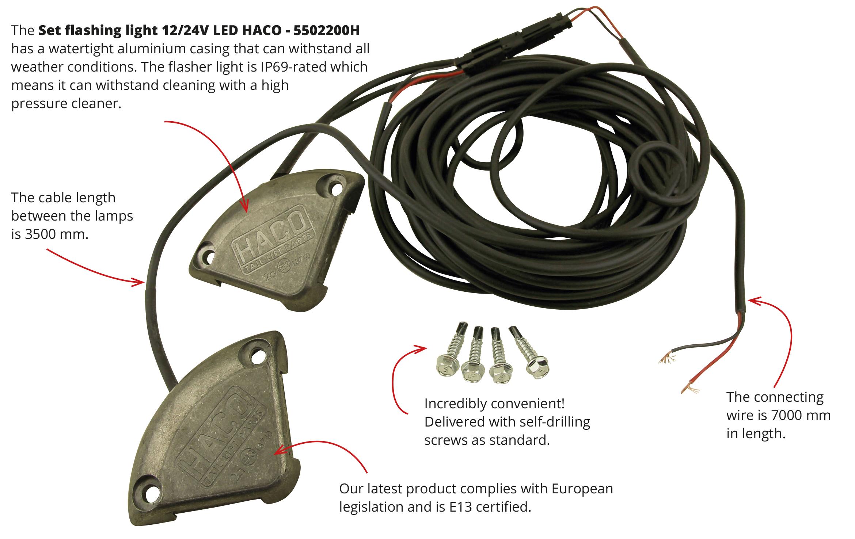 Flashing Light Haco Tail Lift Parts Flasher Led Strip Set Knipperlampen Met Tekst En 2